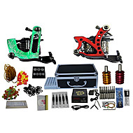 2 Cast Iron Tattoo Machines and LCD Power Supply with Free Gift of 20 Tattoo Inks