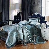 Good Fabric Queen King Size Bedding Set Luxury Silk Cotton Blend Lace Duvet Cover Sets Jacquard Pattern