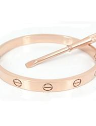Fashion 17CM Gold Screw Titanium Steel Bangle with Same Color Screwdriver  Jewelry
