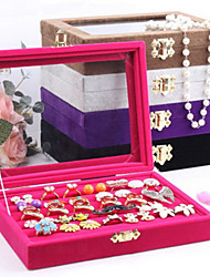 Jewelry Boxes Pearl Flannelette Glass Geometric Rose Coffee Black Purple Gray