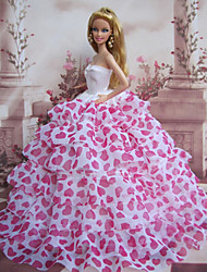 Princess Dresses For Barbie Doll Beige / Fuschia Dresses For Girl's Doll Toy