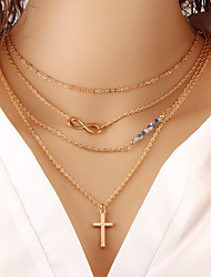Wholesale Women Necklace European Style Cross Infinity Layered Chain Necklace