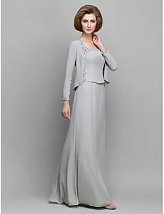 81dc13b234 Lanting Bride® Szűk szabású Örömanya ruha Földig érő Hosszú ujjú Sifon -  Gyöngydíszítés
