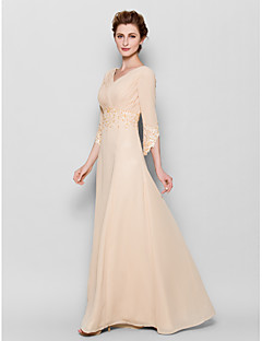 LAN TING BRIDE Sheath / Column Plus Size Petite Mother of the Bride Dress - Elegant Floor-length 3/4 Length Sleeve Chiffon withAppliques