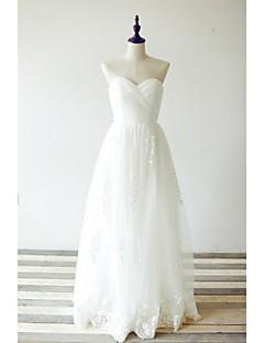 aabe088091 Krój A Suknia ślubna Sięgająca podłoża W kształcie serca Koronka   Tiul z  Dekolt krzyżowy