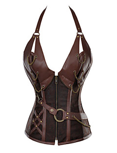 Women's 14 Steel Bone Steampunk Leather Corset with Thong
