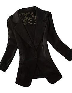 Women's Solid Black/Pink/White Blazer,Casual Notch Lapel Long Sleeve