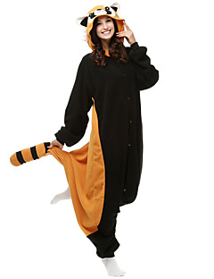 Kigurumi Pajamas Bear / Raccoon Leotard/Onesie Halloween Animal Sleepwear Black Patchwork Polar Fleece Kigurumi Unisex Halloween