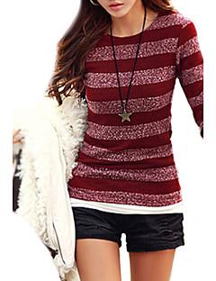 Women's Long Sleeved Striped Autumn and Winter Knit Bottom Shirt