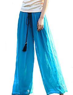 Women's Wide Leg Solid Blue / Pink / Red / Black / Green Wide Leg Pants,Boho / Holiday / Beach