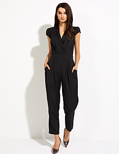 Women's Solid Blue / Black Jumpsuits V Neck Sleeveless