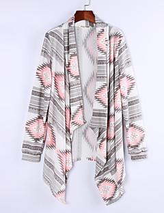 Women's Boho Color Block Geometric Pink/Green Cardigan,Casual/Work Long Sleeve