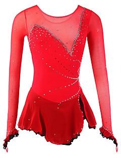 Ice Skating Dress Women's Long Sleeve Skating Dresses High Elasticity Figure Skating Dress Breathable / Wearable Spandex / Mesh/Net Red
